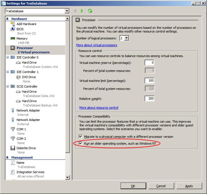 Windows Small Business Server 2000 – Hyper-V virtual processor