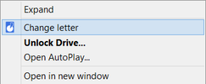 Change Letter context menu