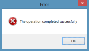 Error: The operation completed successfully