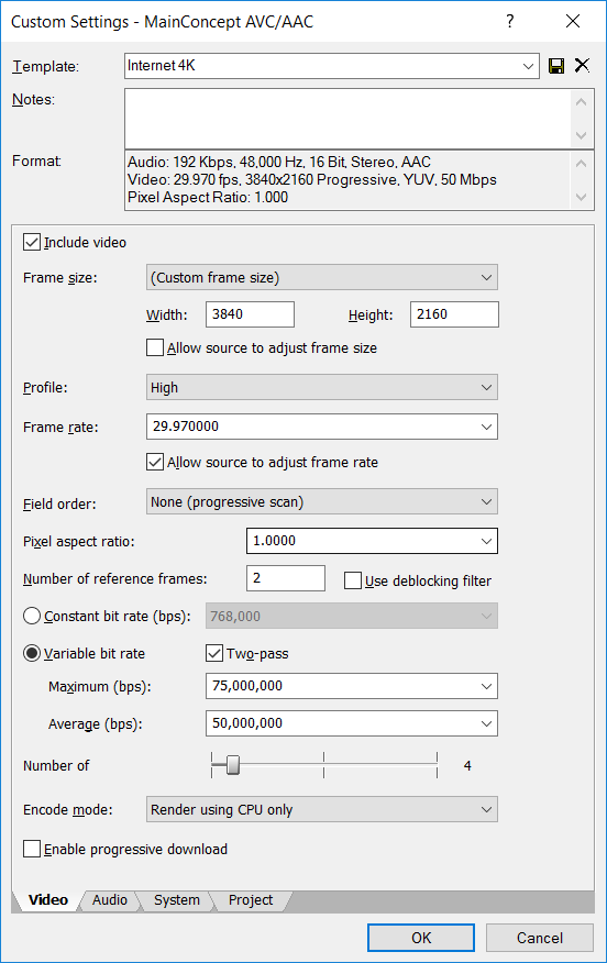 My 4K Video Settings – Medo\'s Home Page