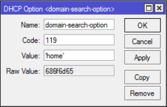 Adding Domain Search Option to Mikrotik DHCP – Medo's Home Page