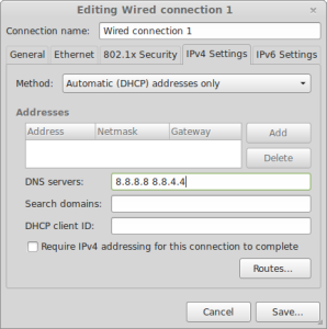 Mint - Network Connections dialog