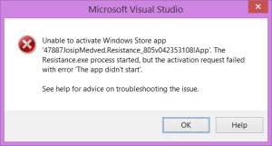 Visual Studio - The app didn't start