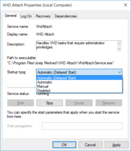 VHD Attach - Startup type - Automatic (delayed start)