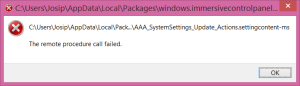 Windows 8.1 - RPC Error