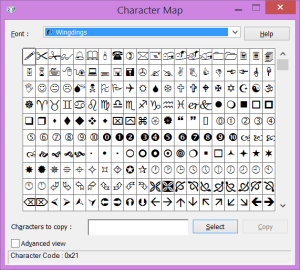 Character Map - Wingdings